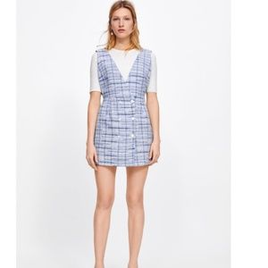 Zara deep neckline light blue tweed dress